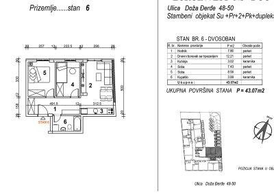 Stan 6 – dvosoban 43,07m2 – cena 1.650,00-EURA/m2 sa uračunatim PDV-om