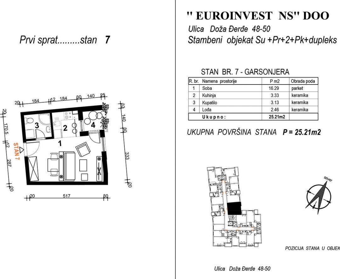 Stan 7 – garsonjera 25,21m2 – cena 1.950,00-EURA/m2 sa uračunatim PDV-om