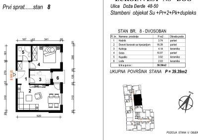 Stan 8 – dvosoban 39,39m2 – cena 1.850,00-EURA/m2 sa uračunatim PDV-om