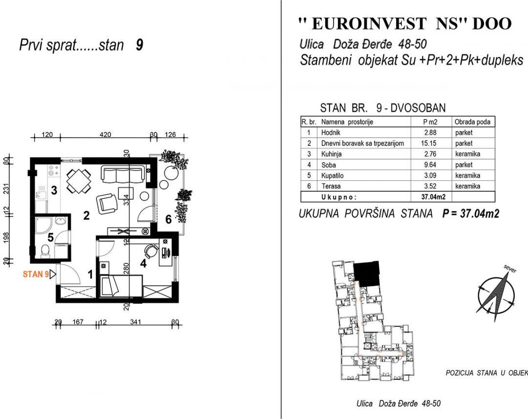 Stan 9 – dvosoban 37,04m2 – cena 1.850,00-EURA/m2 sa uračunatim PDV-om