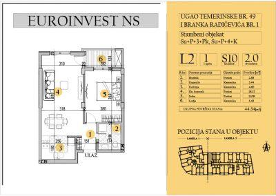 Stan 10 – dvosoban 44.54m2 – cena 1.550,00-EURA/m2 sa uračunatim PDV-om
