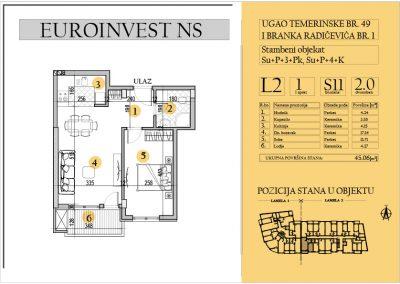 Stan 11 – dvosoban 45.06m2 – cena 1.550,00-EURA/m2 sa uračunatim PDV-om