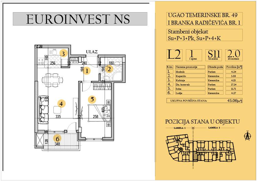 Stan 11 – dvosoban 45.06m2 – cena 1.700,00-EURA/m2 sa uračunatim PDV-om