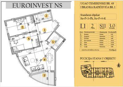 Stan 11 – trosoban 72.85m2 – cena 1.700,00-EURA/m2 sa uračunatim PDV-om