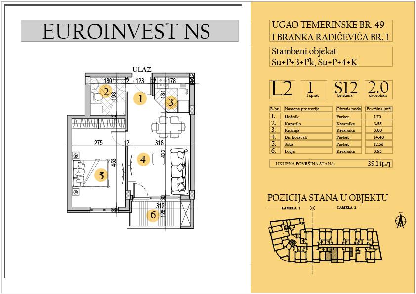 Stan 12 – dvosoban 39.14m2 – cena 1.550,00-EURA/m2 sa uračunatim PDV-om