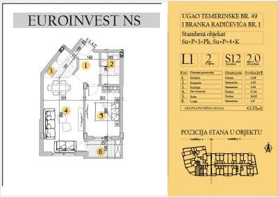 Stan 12 – dvosoban 42.37m2 – cena 1.550,00-EURA/m2 sa uračunatim PDV-om
