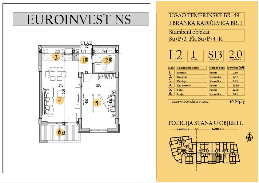 Stan 13 – dvosoban 40.94m2 – cena 1.550,00-EURA/m2 sa uračunatim PDV-om