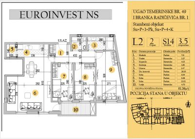 Stan 14 – troiposoban 81.26m2 – cena 1.400,00-EURA/m2 sa uračunatim PDV-om