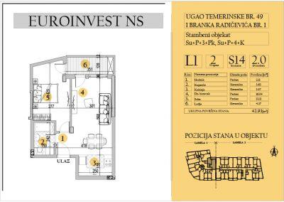 Stan 14 – dvosoban 42.93m2 – cena 1.550,00-EURA/m2 sa uračunatim PDV-om