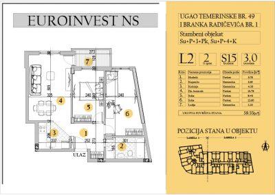 Stan 15 – trosoban 59.55m2 – cena 1.500,00-EURA/m2 sa uračunatim PDV-om