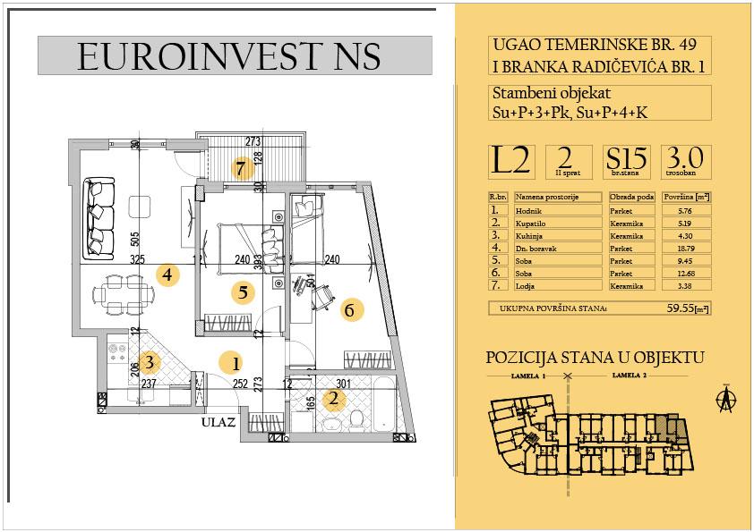 Stan 15 – trosoban 59.55m2 – cena 1.600,00-EURA/m2 sa uračunatim PDV-om