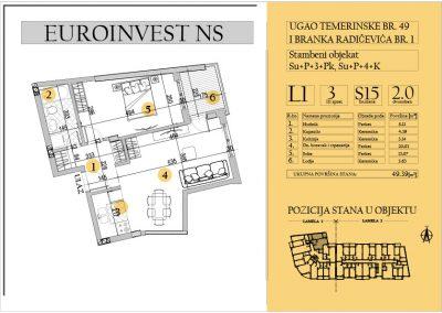 Stan 15 – dvosoban 49.39m2 – cena 1.600,00-EURA/m2 sa uračunatim PDV-om