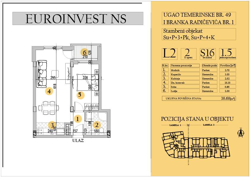 Stan 16 – jednoiposoban 38.68m2 – cena 1.550,00-EURA/m2 sa uračunatim PDV-om