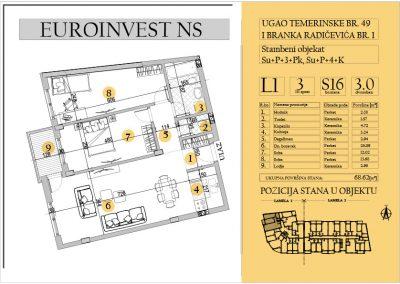Stan 16 – trosoban 68.62m2 – cena 1.600,00-EURA/m2 sa uračunatim PDV-om