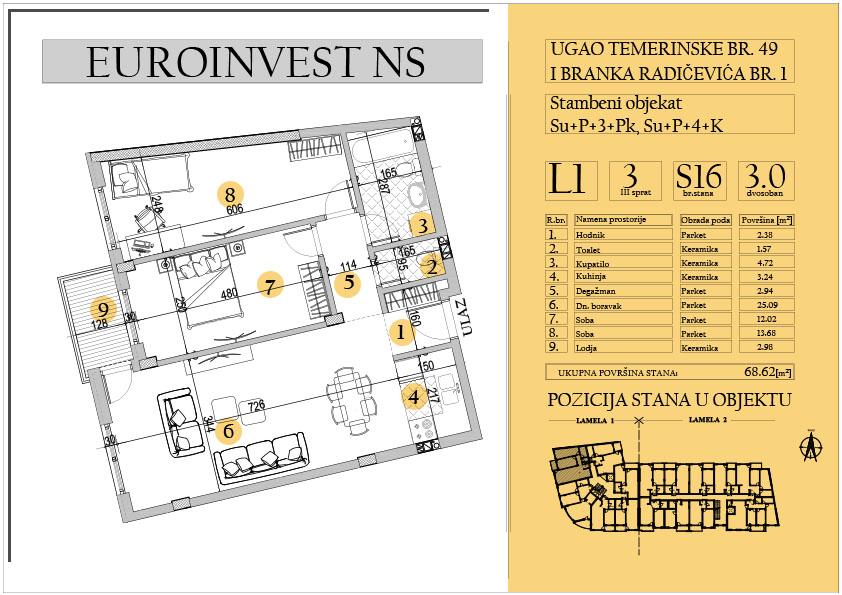 Stan 16 – trosoban 68.62m2 – cena 1.450,00-EURA/m2 sa uračunatim PDV-om