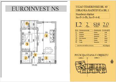Stan 18 – dvosoban 42.53m2 – cena 1.550,00-EURA/m2 sa uračunatim PDV-om