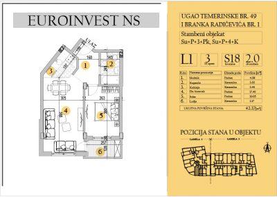 Stan 18 – dvosoban 42.37m2 – cena 1.550,00-EURA/m2 sa uračunatim PDV-om