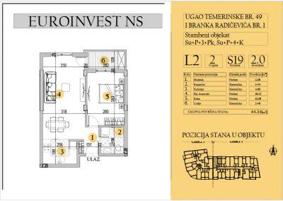 Stan 19 – dvosoban 44.54m2 – cena 1.550,00-EURA/m2 sa uračunatim PDV-om