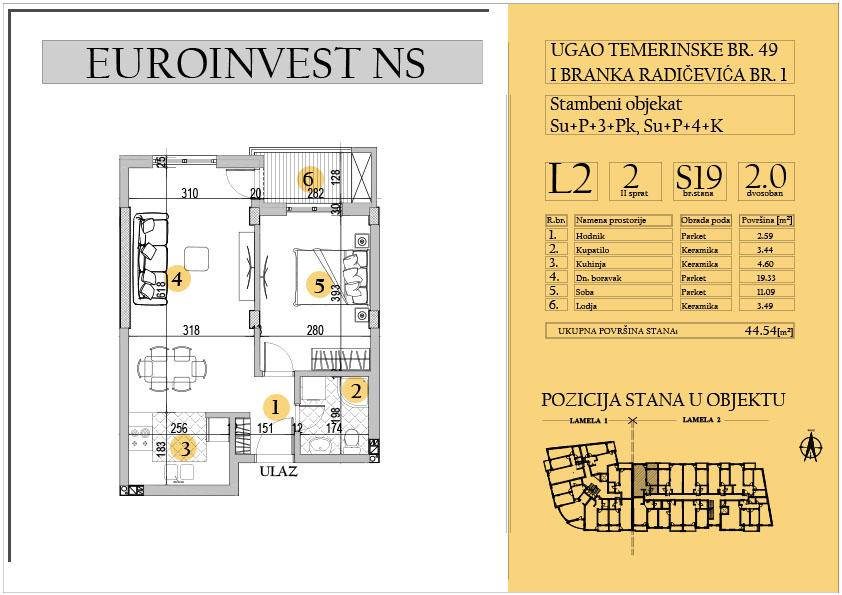 Stan 19 – dvosoban 44.54m2 – cena 1.700,00-EURA/m2 sa uračunatim PDV-om