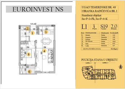 Stan 19 – dvosoban 41.41m2 – cena 1.550,00-EURA/m2 sa uračunatim PDV-om