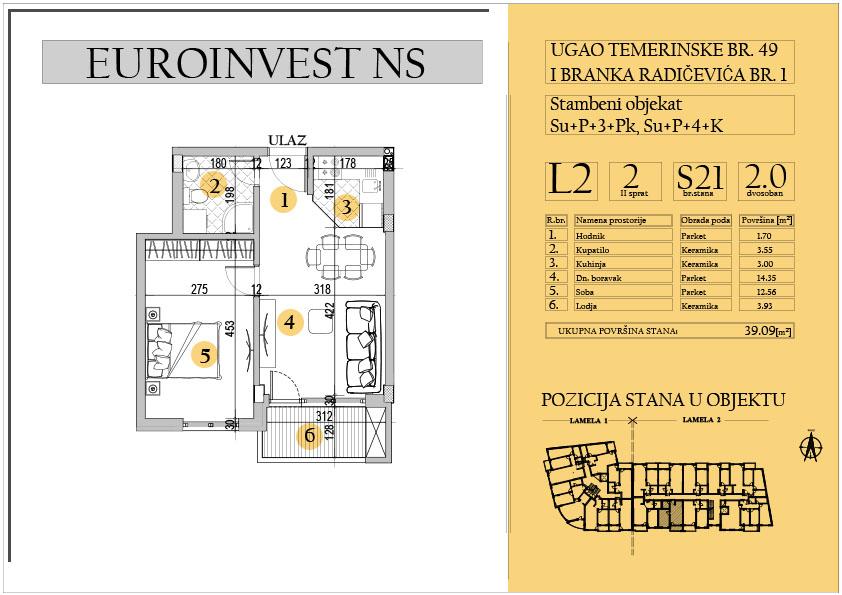 Stan 21 – dvosoban 39.09m2 – cena 1.550,00-EURA/m2 sa uračunatim PDV-om