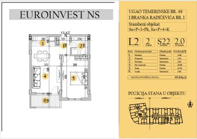 Stan 22 – dvosoban 40.94m2 – cena 1.550,00-EURA/m2 sa uračunatim PDV-om