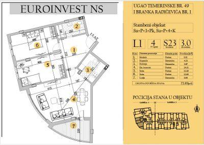 Stan 23 – trosoban 72.85m2 – cena 1.700,00-EURA/m2 sa uračunatim PDV-om