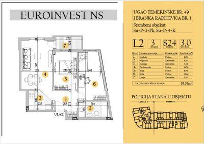 Stan 24 – trosoban 59.55m2 – cena 1.450,00-EURA/m2 sa uračunatim PDV-om