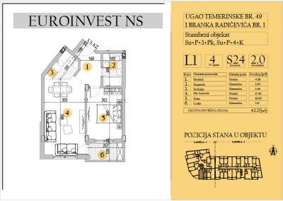 Stan 24 – dvosoban 42.37m2 – cena 1.550,00-EURA/m2 sa uračunatim PDV-om