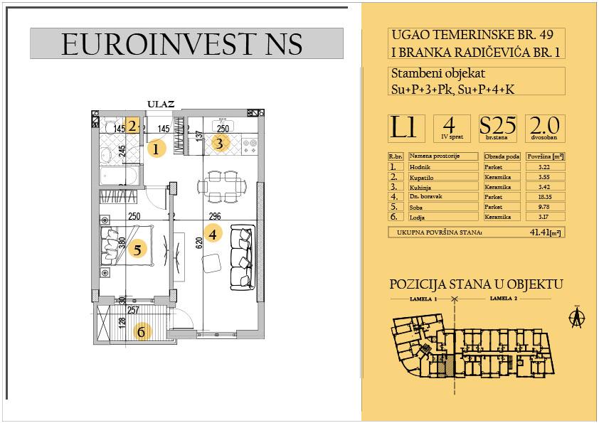 Stan 25 – dvosoban 41.41m2 – cena 1.550,00-EURA/m2 sa uračunatim PDV-om
