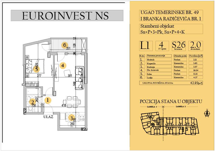 Stan 26 – dvosoban 42.93m2 – cena 1.550,00-EURA/m2 sa uračunatim PDV-om