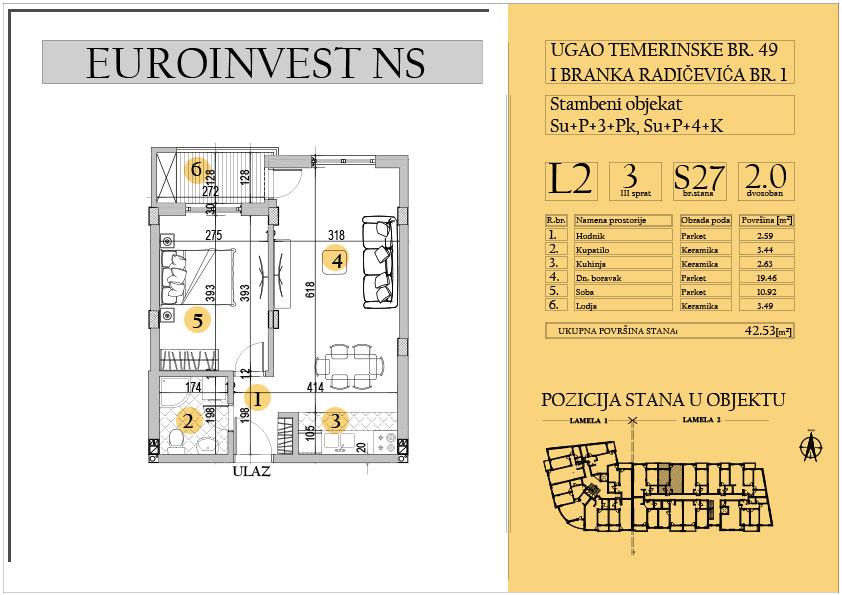 Stan 27 – dvosoban 42.53m2 – cena 1.550,00-EURA/m2 sa uračunatim PDV-om