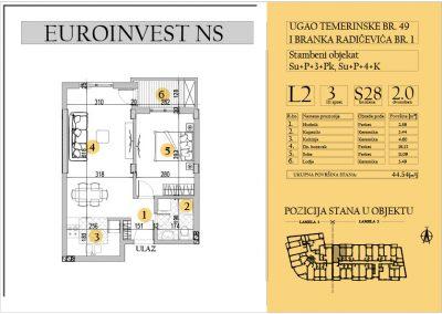 Stan 28 – dvosoban 44.54m2 – cena 1.550,00-EURA/m2 sa uračunatim PDV-om