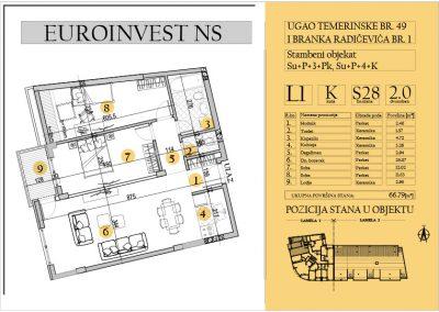 Stan 28 – dvosoban 66.79m2 – cena 1.600,00-EURA/m2 sa uračunatim PDV-om