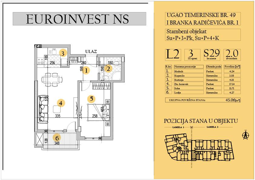 Stan 29 – dvosoban 45.06m2 – cena 1.550,00-EURA/m2 sa uračunatim PDV-om
