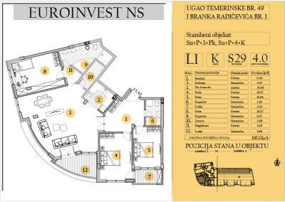 Stan 29 – četvorosoban 116.13m2 – cena 2.000,00-EURA/m2 sa uračunatim PDV-om