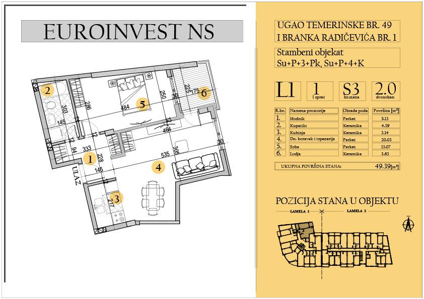 Stan 3 – dvosoban 49.39m2 – cena 1.550,00-EURA/m2 sa uračunatim PDV-om