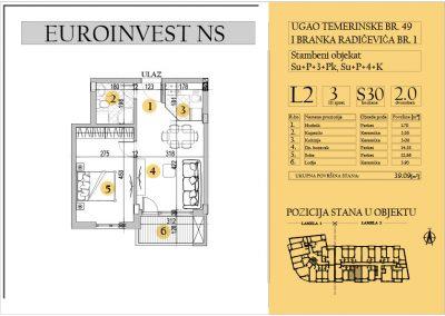 Stan 30 – dvosoban 39.09m2 – cena 1.550,00-EURA/m2 sa uračunatim PDV-om