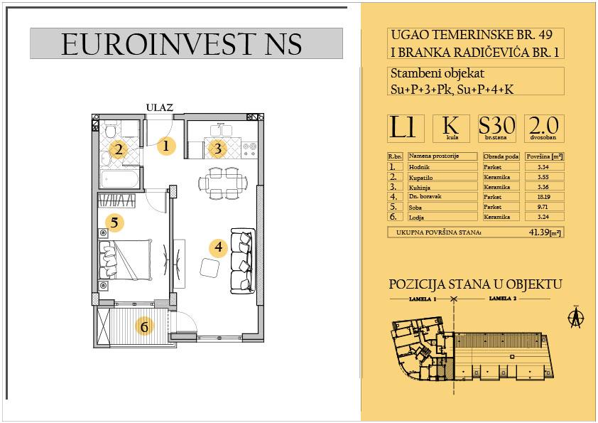 Stan 30 – dvosoban 41.39m2 – cena 1.550,00-EURA/m2 sa uračunatim PDV-om