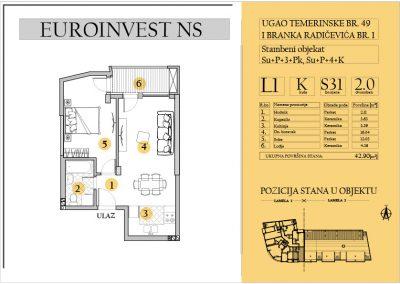 Stan 31 – dvosoban 42.90m2 – cena 1.550,00-EURA/m2 sa uračunatim PDV-om
