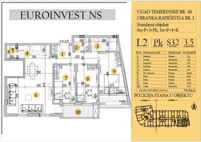 Stan 32 – troiposoban 78.58m2 – cena 1.400,00-EURA/m2 sa uračunatim PDV-om