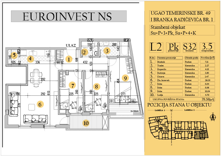 Stan 32 – troiposoban 78.58m2 – cena 1.550,00-EURA/m2 sa uračunatim PDV-om
