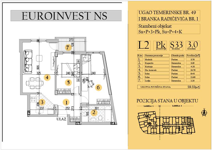 Stan 33 – trosoban 59.55m2 – cena 1.400,00-EURA/m2 sa uračunatim PDV-om