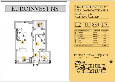 Stan 34 – jednoiposoban 38.68m2 – cena 1.550,00-EURA/m2 sa uračunatim PDV-om