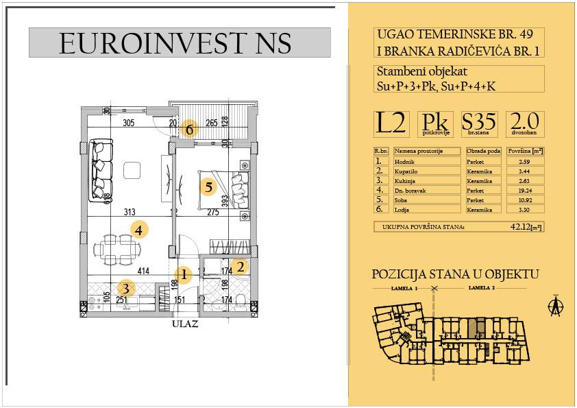 Stan 35 – dvosoban 42.12m2 – cena 1.500,00-EURA/m2 sa uračunatim PDV-om