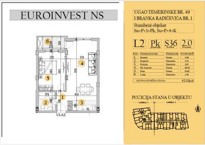 Stan 36 – dvosoban 42.53m2 – cena 1.500,00-EURA/m2 sa uračunatim PDV-om