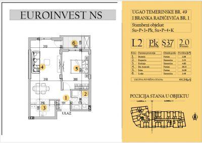 Stan 37 – dvosoban 44.54m2 – cena 1.550,00-EURA/m2 sa uračunatim PDV-om
