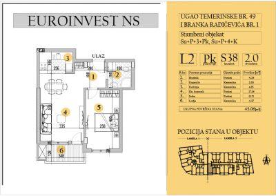 Stan 38 – dvosoban 45.06m2 – cena 1.500,00-EURA/m2 sa uračunatim PDV-om
