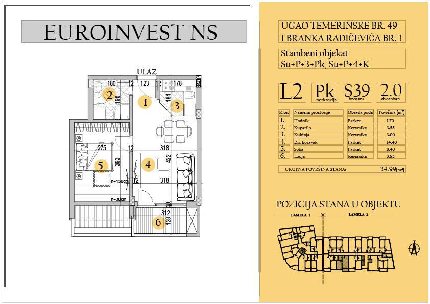 Stan 39 – dvosoban 34.99m2 – cena 1.550,00-EURA/m2 sa uračunatim PDV-om