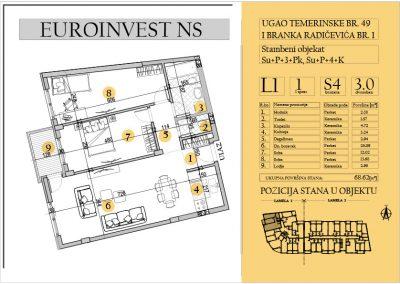 Stan 4 – trosoban 68.62m2 – cena 1.600,00-EURA/m2 sa uračunatim PDV-om